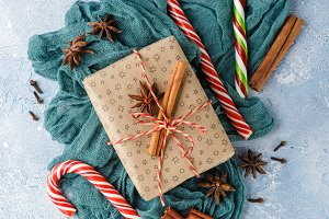 Christmas gift box, candy cane