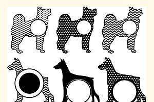 Dogs monogram Svg, Dog Cut File