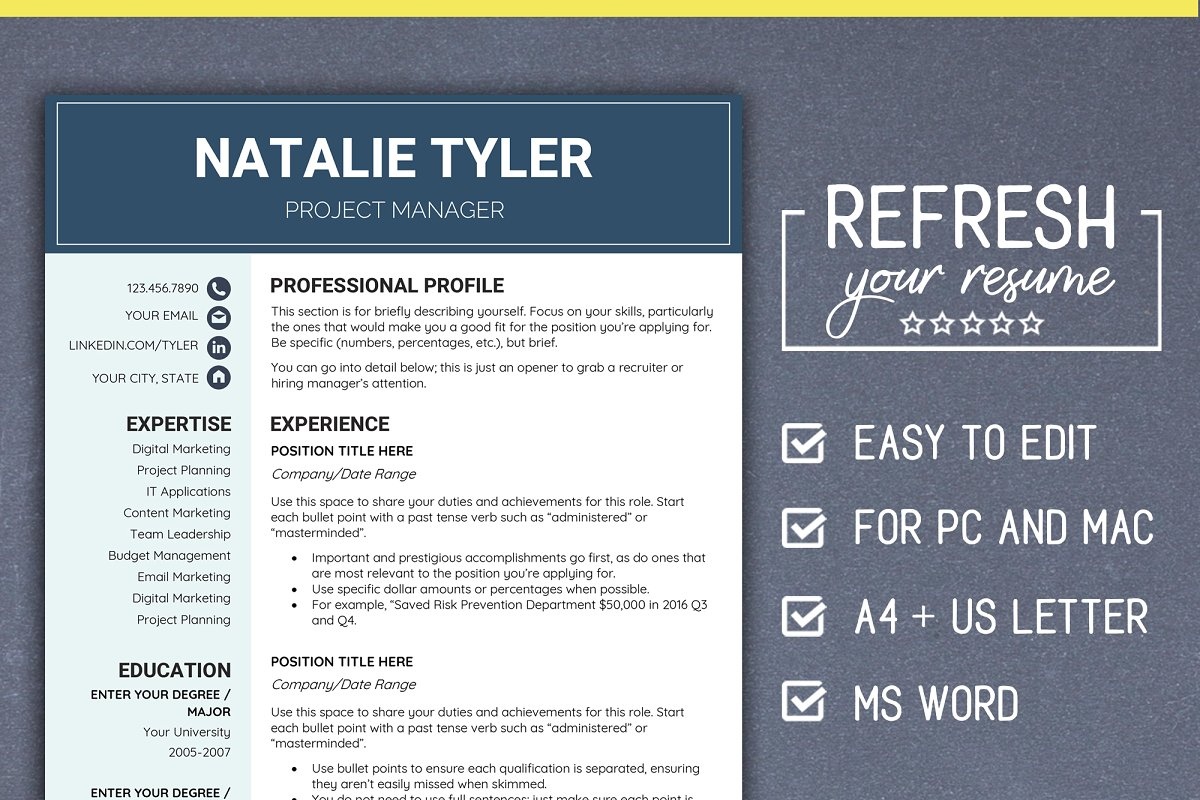 Resume CV Template MS Word (A4 + US) ~ Resume Templates ...