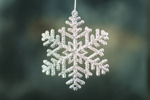 Close up of Shining Christmas snowflake