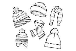 Set of woolen winter clothes