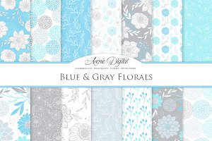 Blue and Gray Floral Vector Patterns