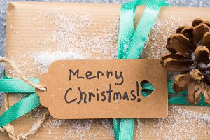 Wishing merry christmas background with gift
