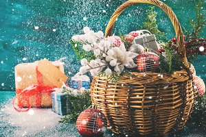 Christmas greeting card with basket and decoration