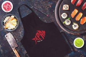 Sushi Bar Apron Mock-up #1