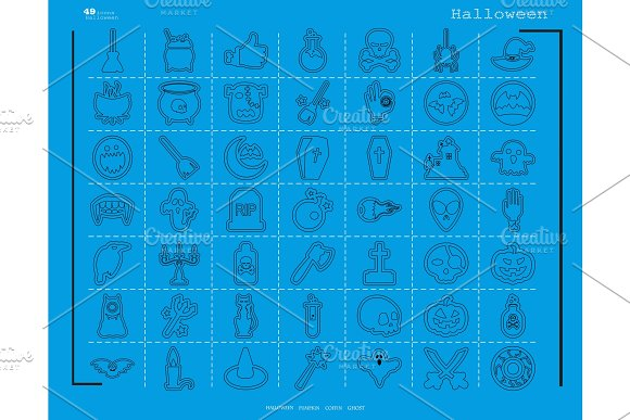 Collection Of 49 Halloween Icons Vector Illustration In Thin Line Style