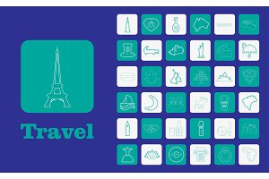 Travel Line Icons for Web and Mobile. Thin line icons. Blue background
