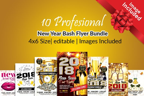10 Happy New Year Flyer Bun-Graphicriver中文最全的素材分享平台