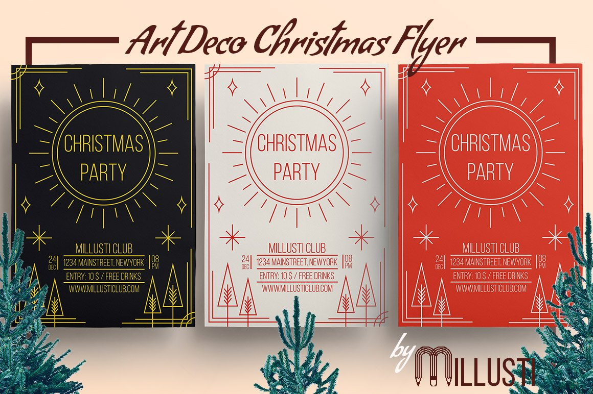 Art Deco Christmas Flyer Template ~ Flyer Templates ~ Creative Market