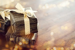 Decorated shiny giftboxes in sparkle