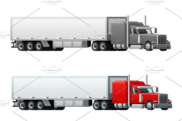 Trailer truck long vehicle vector isolated icons