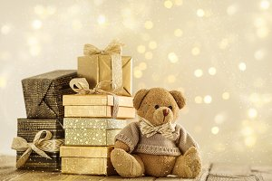 Arranged presents and toy