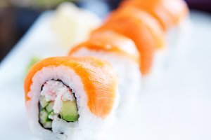 colorful salmon sushi