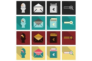 Set of business simple icons. Economic concept in flat style with long shadow