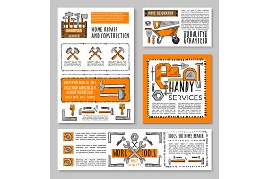 Vector work tools home repair sketch posters