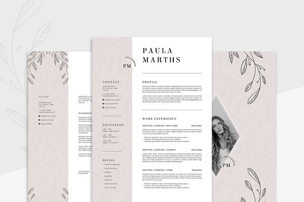 resume templates agatacreate floral resumecv cover letter - Resume Template Cover Letter