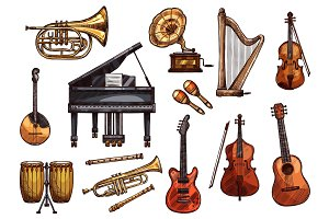 Vector music concert sketch instruments icons