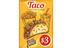 Fast food vector tacos fries coffee sketch menu