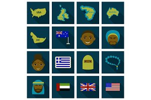 Flat Round Icons of All World Flags. Ultimate Vector Collection.