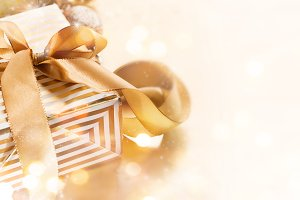 Beautiful gift with ribbon closeup
