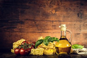 Tasty Italian ingredients on table