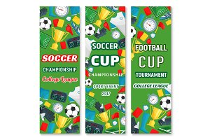 Vector banners for soccer college league cup game