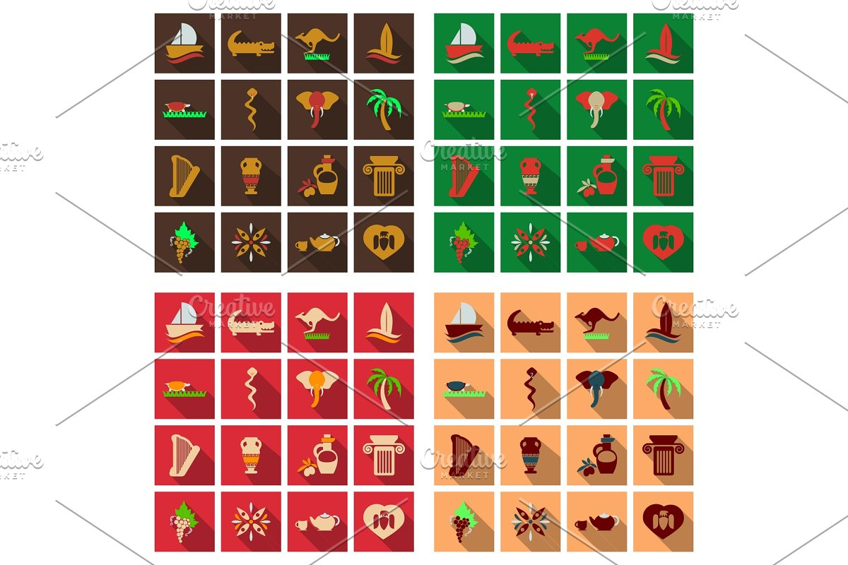 Set of vector images on the theme of ancient Greece  They can be used as  logo design elements, as illustration for travel agencies