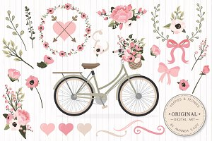 Soft Pink Vector Bicycle & Flowers