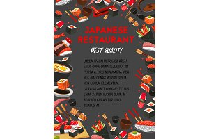 Vector poster for Japanese cuisine restaurant menu