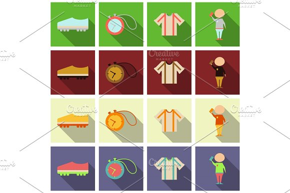 Set Of Football Icons And Equipments In Flat Style With Shadow