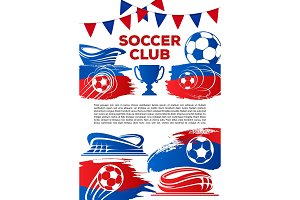 Vector football poster for soccer game cup
