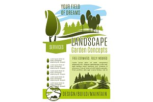 Vector poster gardening landscape design company
