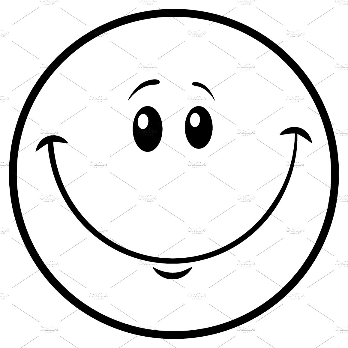 One Line Art Smiley : Black and white smiley face emoji illustrations