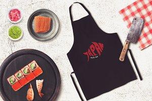 Sushi Bar Apron Mock-up #9