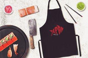 Sushi Bar Apron Mock-up #8