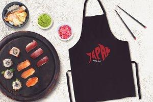 Sushi Bar Apron Mock-up #7