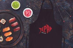 Sushi Bar Apron Mock-up #4