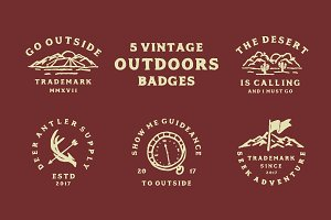 5 Vintage Outdoors Badges