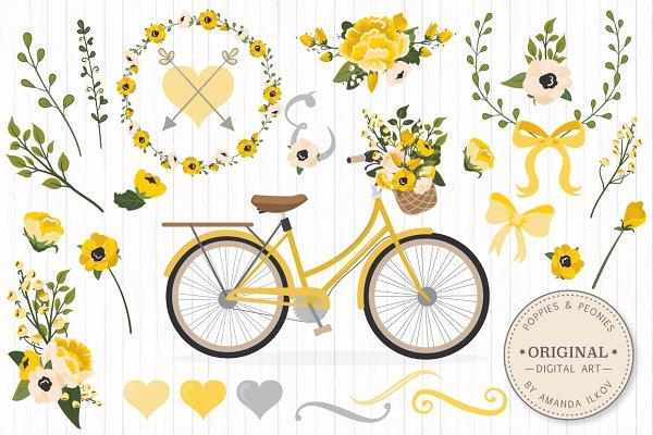 Yellow Romantic Bicycle & Flowers