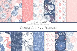 Coral & Navy Floral Vector Patterns