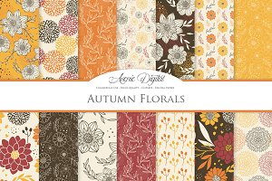 Vector Autumn Floral Digital Paper