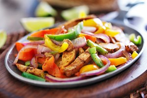 mexican chicken fajitas in skillet