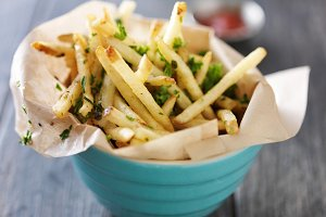 truffle french fries in bowl
