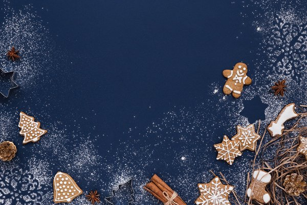 Christmas background & gingerbread