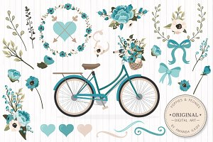Vintage Blue Vector Bicycle & Flower