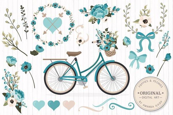 Vintage Blue Vector Bicycle & Flowe…