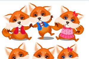 Happy and sad animated foxes