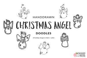 Christmas Angels Clip Art Doodles