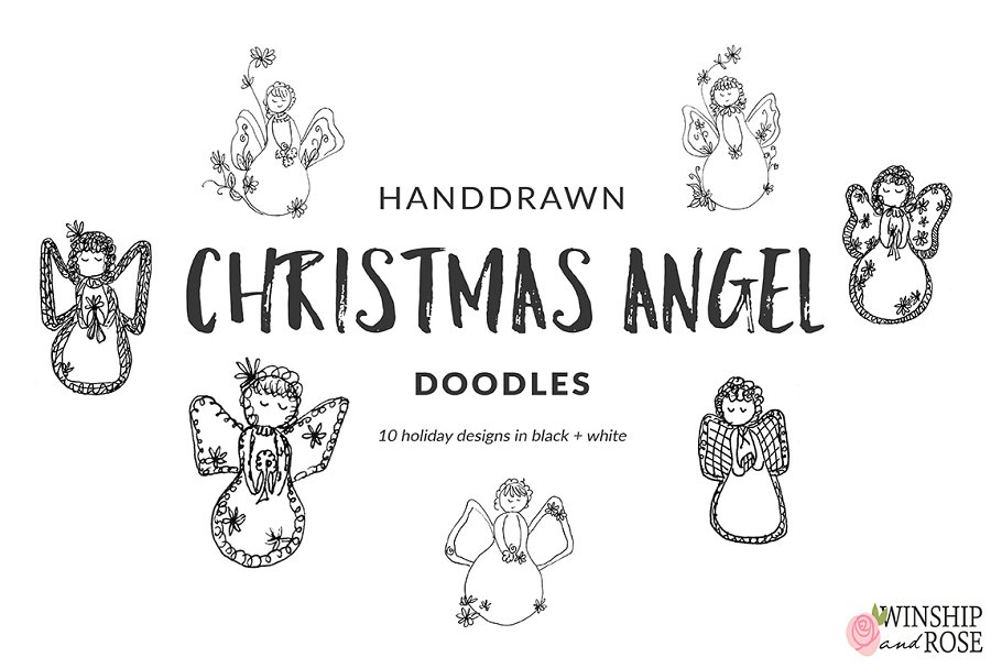 Christmas Angels Images Clip Art.Christmas Angels Clip Art Doodles Illustrations Creative