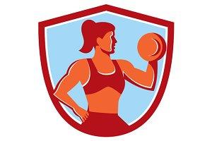 Female Lifting Dumbbell Shield Retro